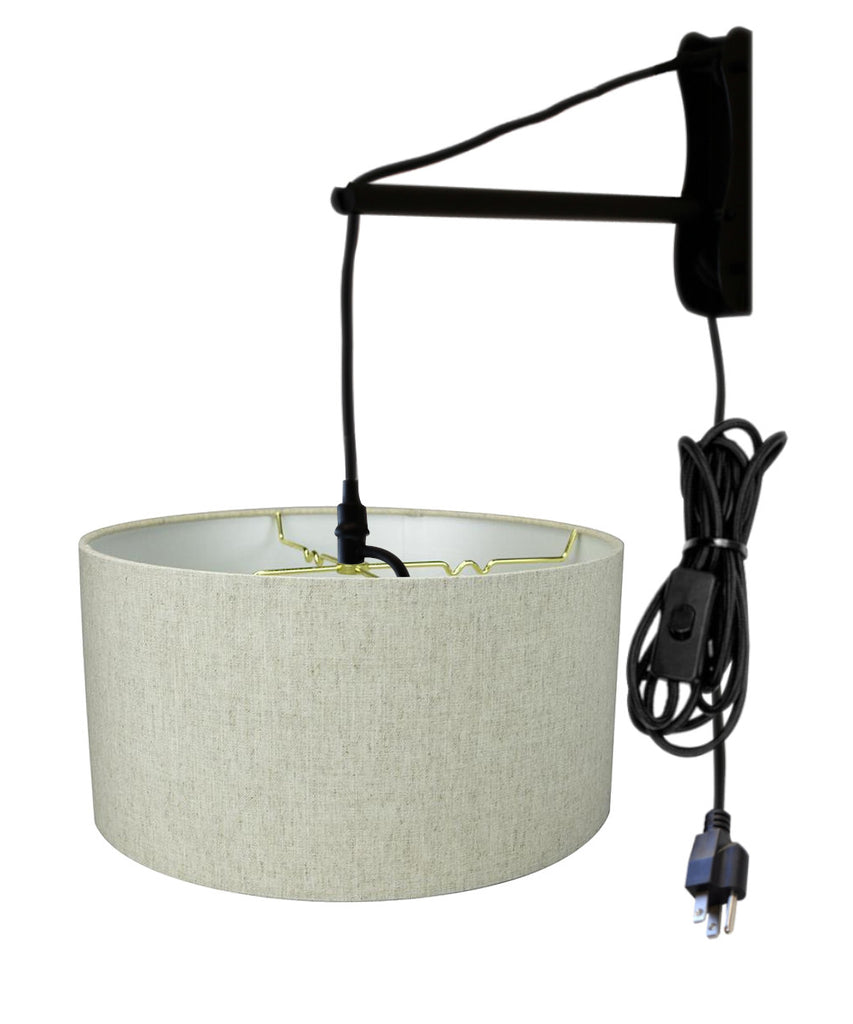 MAST Plug-In Wall Mount Pendant, 1 Light Black Cord/Arm, Textured Oatmeal Shade
