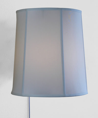 0-000972>Floating Shade Plug-In Wall Light White Shantung Fabric 14x16x17