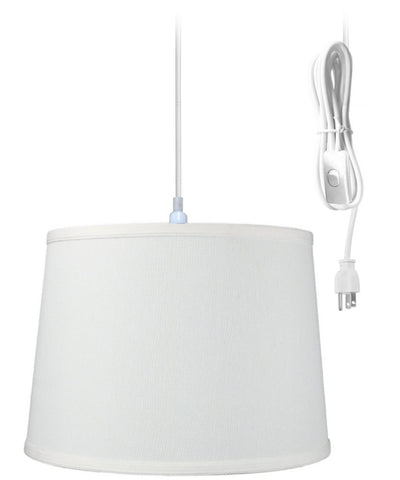 1-Light Plug In Swag Pendant Ceiling Light Light Oatmeal Shade