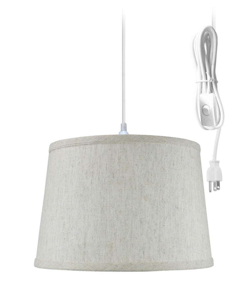 0-002050>Shallow Drum 1 Light Swag Plug-In Pendant Hanging Lamp Textured Oatmeal