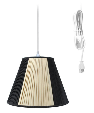 0-000612>Hanging Swag Pendant Plug-In One Light Beige/Black Shade