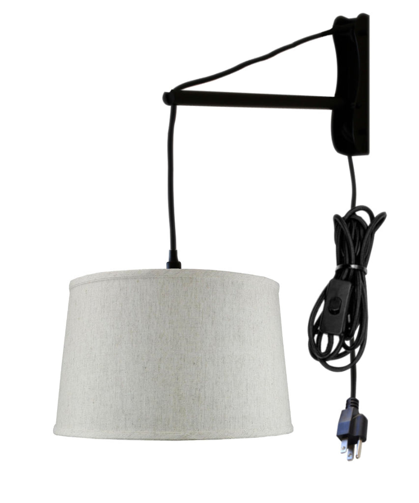 MAST Plug-In Wall Mount Pendant, 1 Light Black Cord/Arm, Shallow Drum Textured Oatmeal Shade 14x16x10