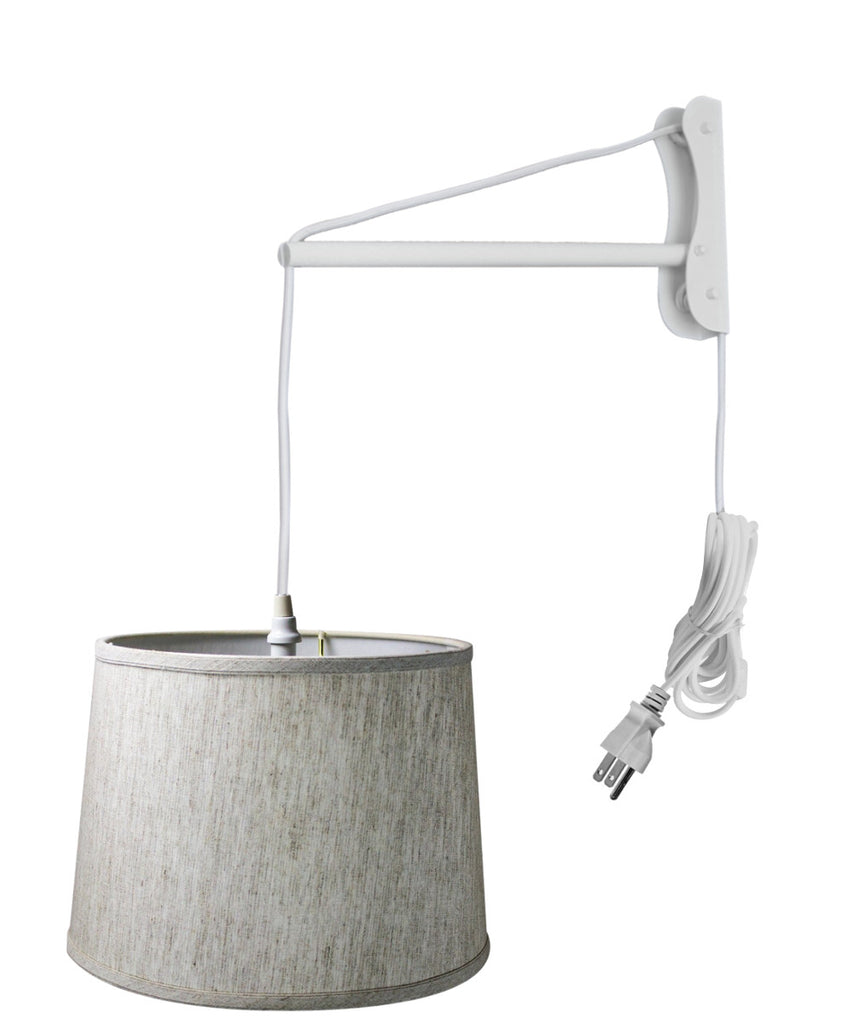 0-002781>MAST Plug-In Wall Mount Pendant, 1 Light White Cord/Arm, Textured Oatmeal Shade 12x14x10