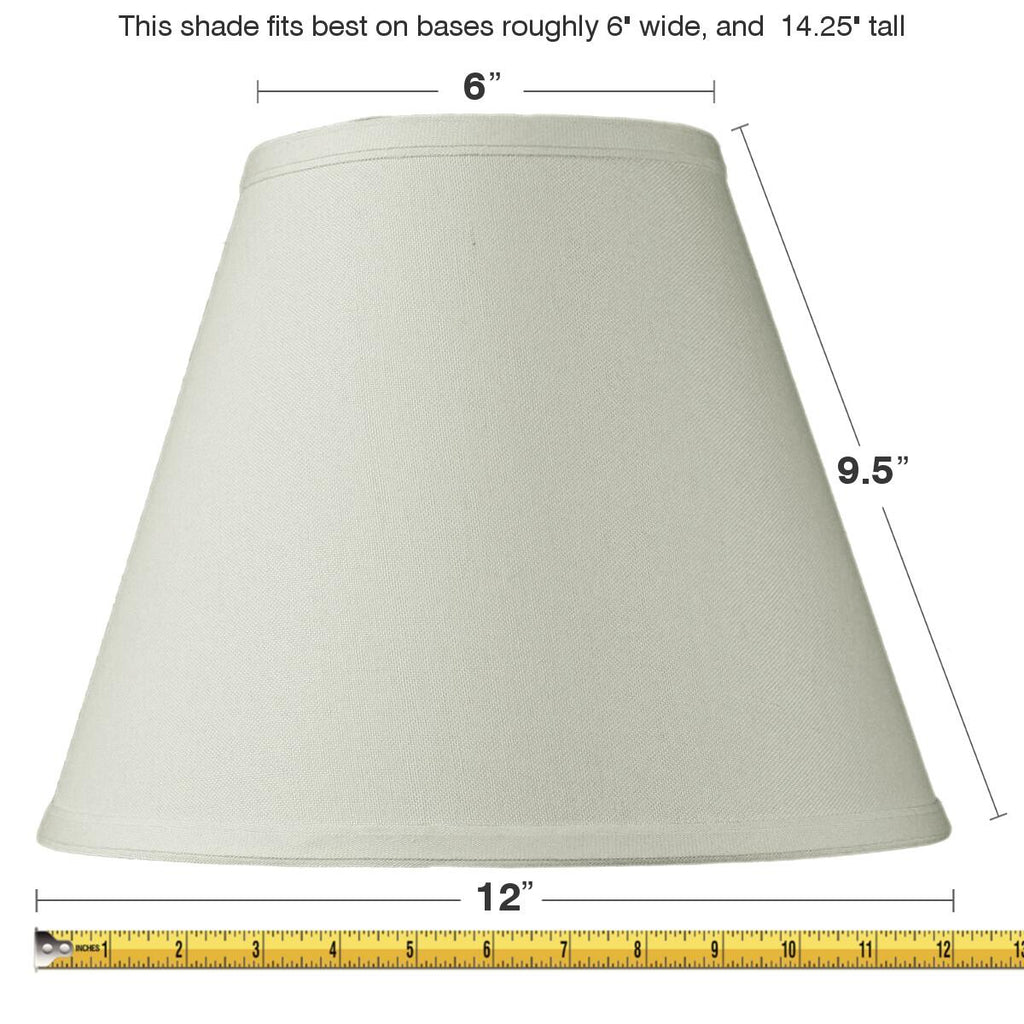 0-000280>6x12x9 Slip Uno Fitter Hard Back Empire Lamp Shade Light Oatmeal