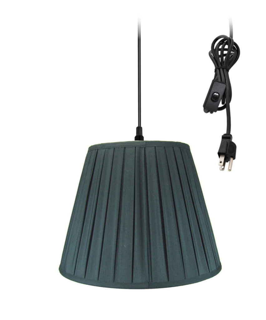 "18""w 1-Light Plug-In Swag Pendant Lamp Black"