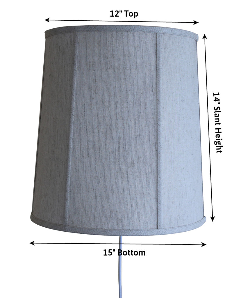 0-000624>Floating Shade Plug-In Wall Light Textured Oatmeal 12x14x15