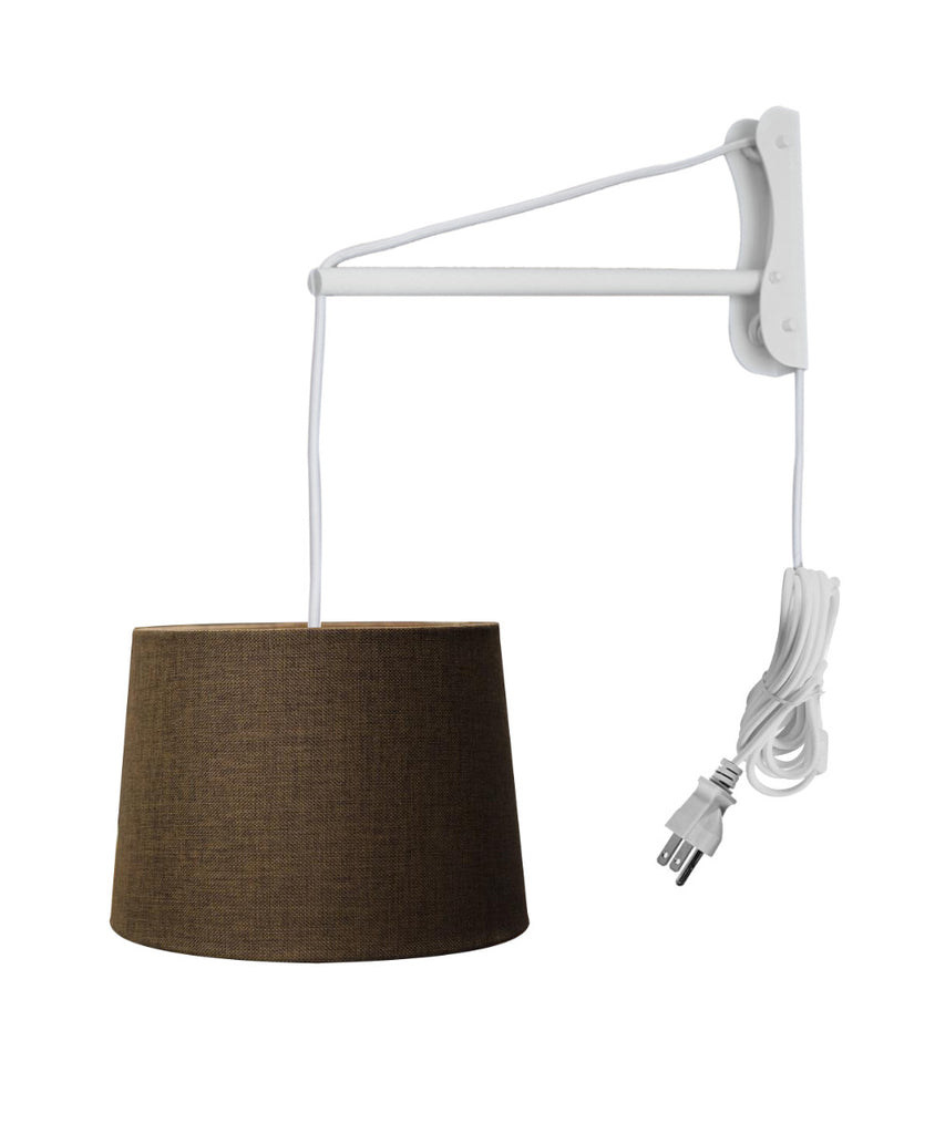 0-001251>MAST Plug-In Wall Mount Pendant, 2 Light White Cord/Arm with Diffuser, Drum Chocolate Burlap Shade 12x14x10
