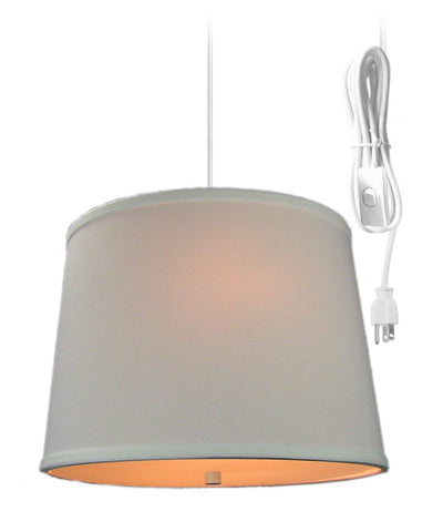 White Linen  2 Light Swag Plug-In Pendant with Diffuser