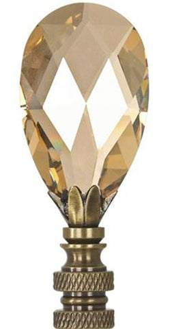 "0-008952>Stephanov Large Champagne Crystal Teardrops Lamp Finial Antique Brass 2.85""h"