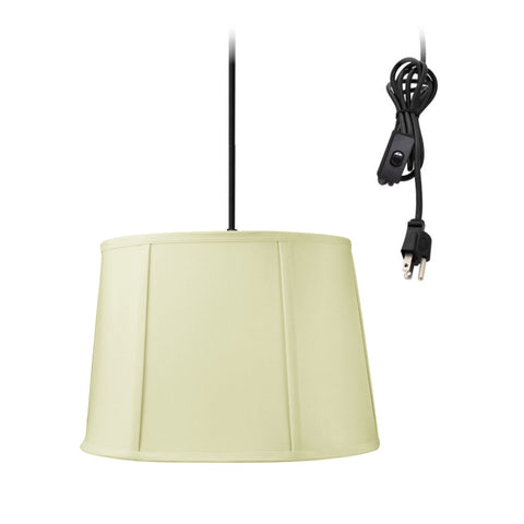 0-001304>Drum 1 Light Swag Plug-In Pendant Hanging Lamp 10x12x08 Egg Shell Shantung Shade