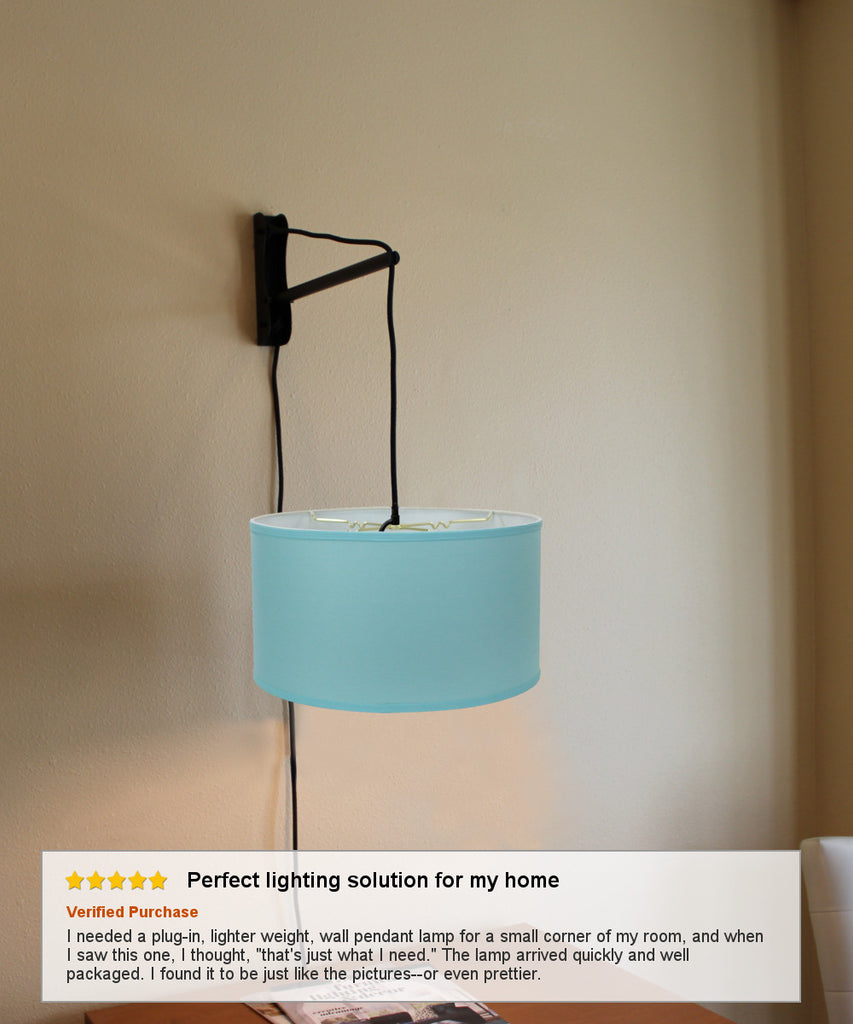 MAST Plug-In Wall Mount Pendant, 1 Light Black Cord/Arm, Island Paridise Blue Shade 18x18x10