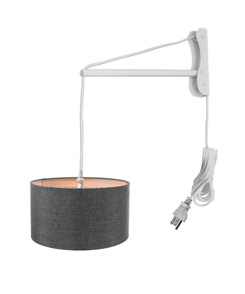 0-001659>MAST Plug-In Wall Mount Pendant, 2 Light White Cord/Arm with Diffuser, Granite Gray Shade 18x18x10