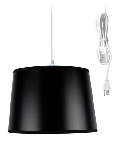 0-002041>Shallow Drum 1 Light Swag Plug-In Pendant Hanging Lamp 10x12x8 Black