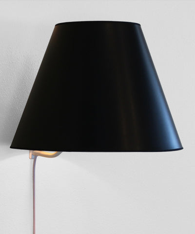 0-000218>Floating Shade Plug-In Wall Light Bold Black with True Gold Lining 8x16x12