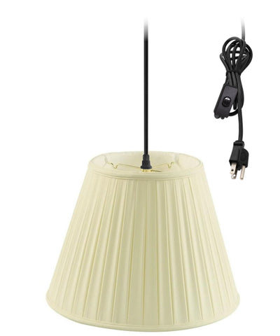 0-002000>1-Light Plug In Swag Pendant Ceiling Light Eggshell Shade