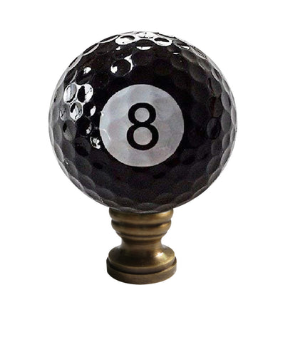 "8-Ball Billiard Lamp Finial, Black, 2.25""h"