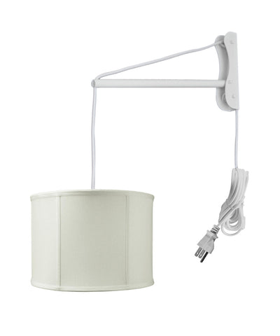 MAST Plug-In Wall Mount Pendant, 2 Light White Cord/Arm with Diffuser, Light Oatmeal Drum Shade 14x14x10