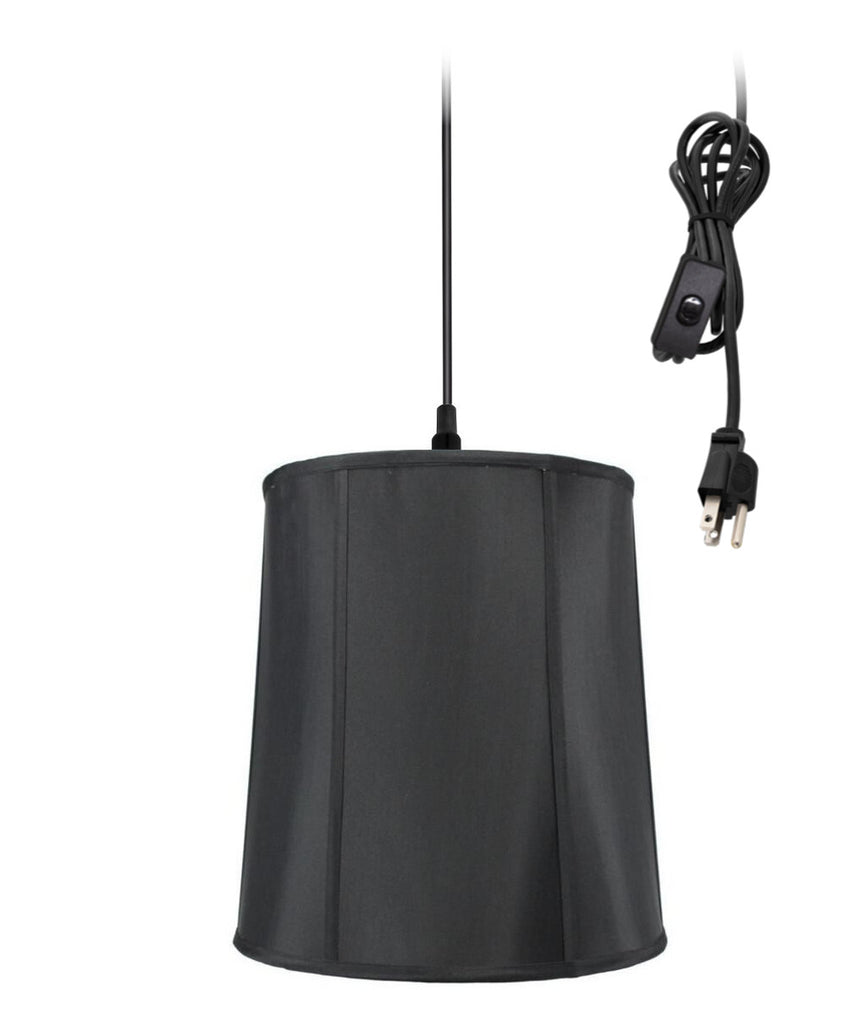 0-002000>1-Light Plug In Swag Pendant Ceiling Light Black Shade