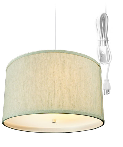 Textured Oatmeal 2 Light Swag Plug-In Pendant with Diffuser