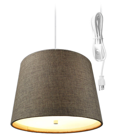 0-002064>Drum 2 Light Swag Plug-In Pendant with Diffuser - Chocolate Burlap
