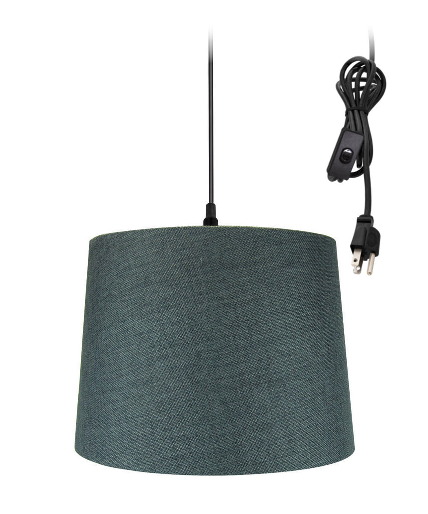 "0-002000>14""w 1-Light Plug-In Swag Pendant Lamp Granite Gray"