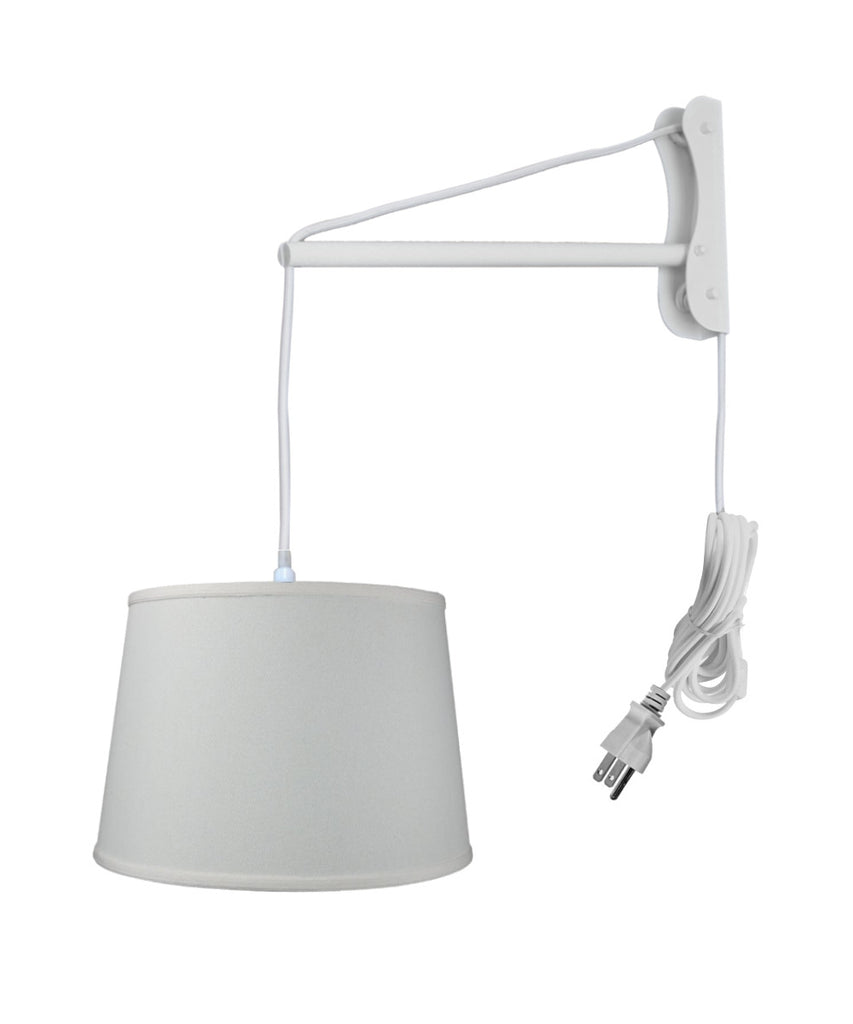 0-002883>MAST Plug-In Wall Mount Pendant, 1 Light White Cord/Arm, Light Oatmeal Shade 13x16x11