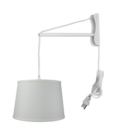 MAST Plug-In Wall Mount Pendant, 1 Light White Cord/Arm, Light Oatmeal Shade 13x16x11