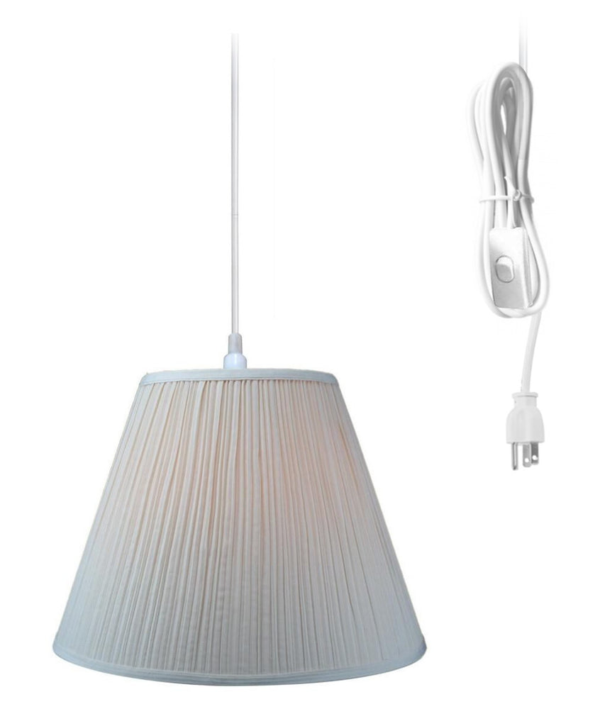 0-000098>Hanging Swag Pendant Plug-In One Light Eggshell Shade