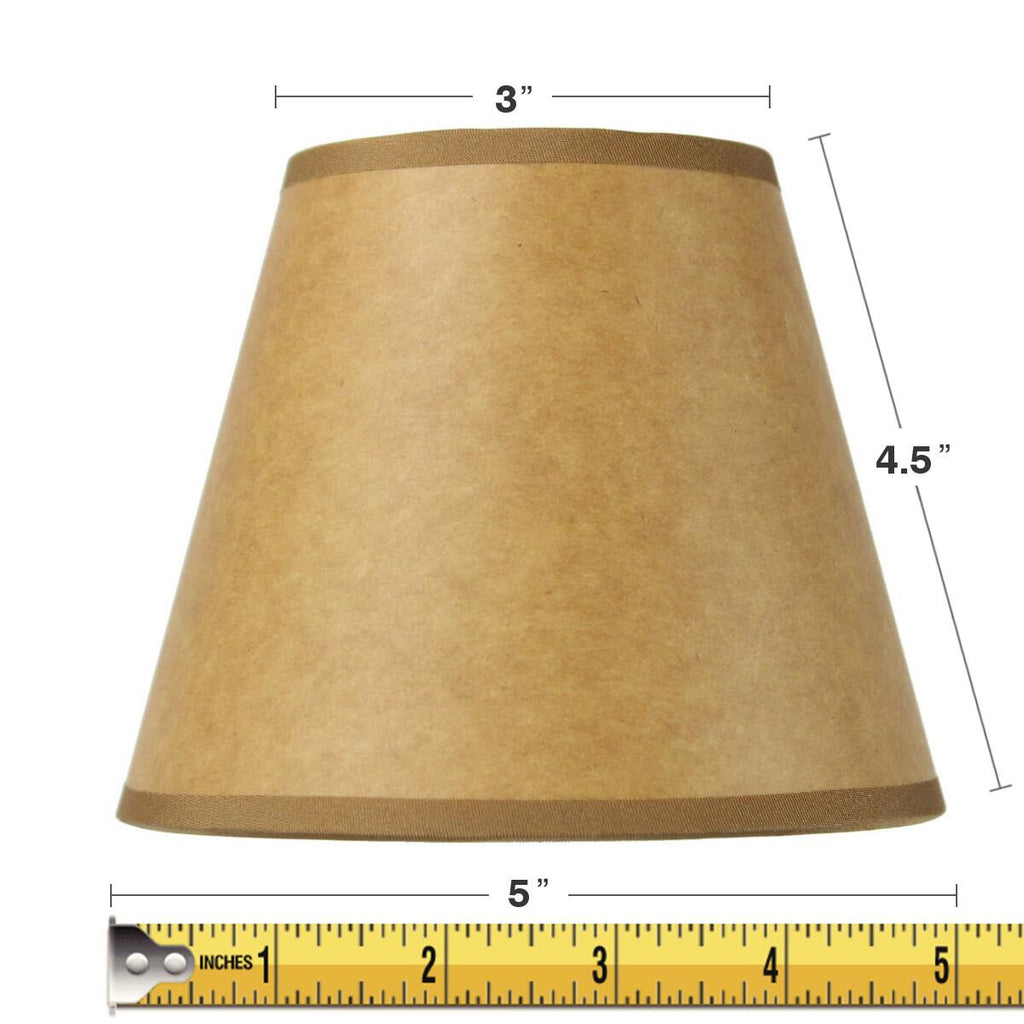 0-001182>3x5x5 Brown / Parchment Chandelier Clip-On Lampshade