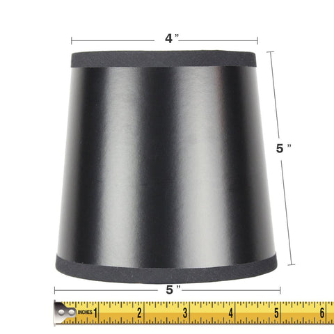 0-011792>5x6x5 Black Parchment Gold-Lined Drum Chandelier Clip-On Lampshade