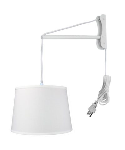 MAST Plug-In Wall Mount Pendant, 1 Light White Cord/Arm, White Shade 13x16x11