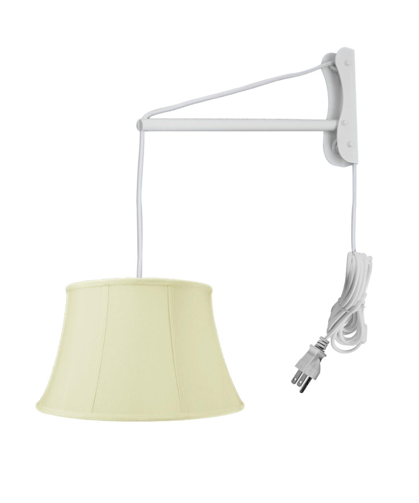 0-001319>MAST Plug-In Wall Mount Pendant, 2 Light White Cord/Arm with Diffuser, Egg Shell Shade 12x17x10