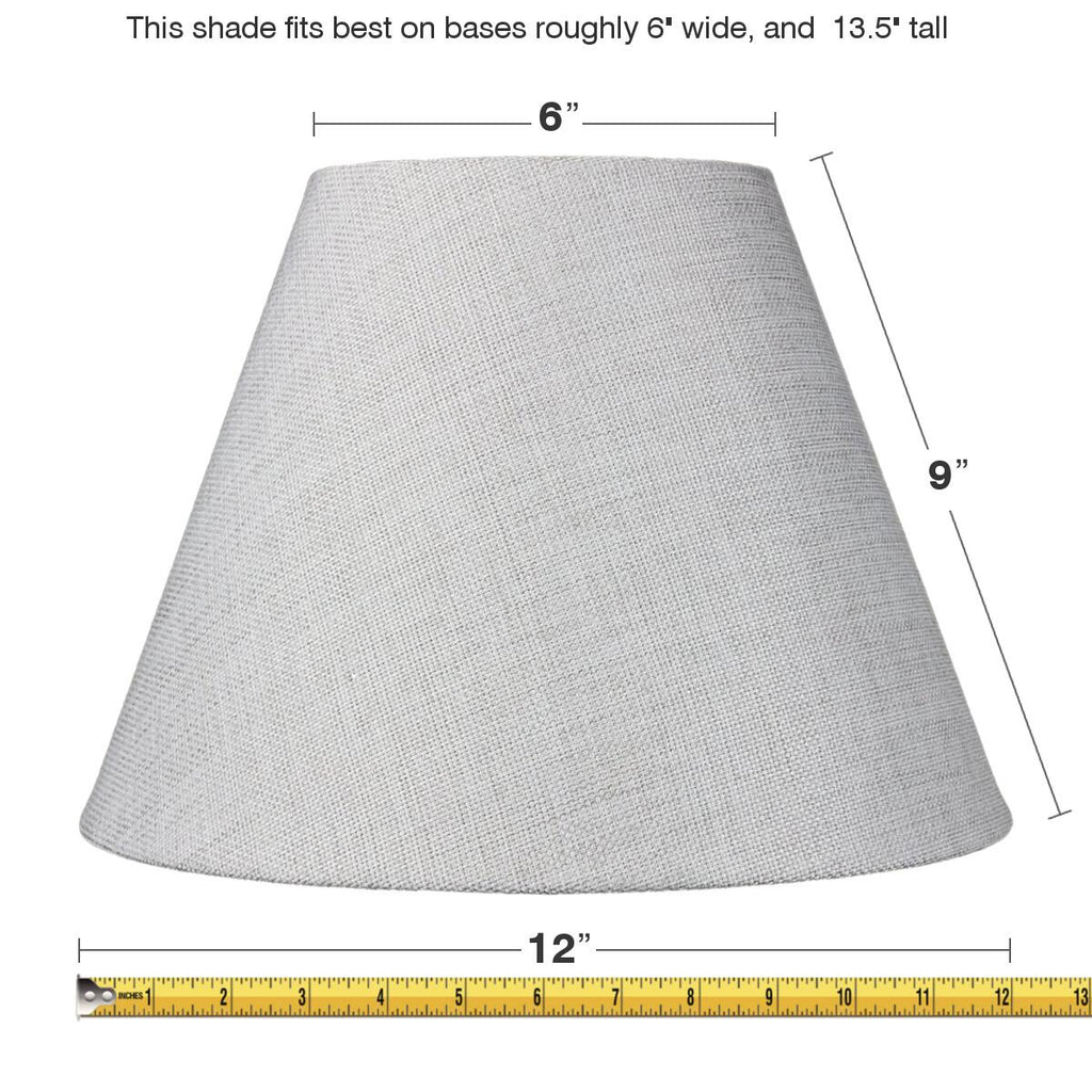 0-002433>6x12x9 Slip Uno Fitter Hard Back Empire Lamp Shade - Khaki Burlap
