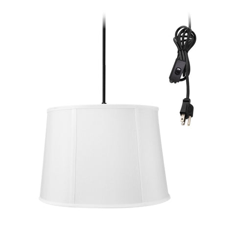 Drum 1 Light Swag Plug-In Pendant Hanging Lamp 10x12x08 White Shade