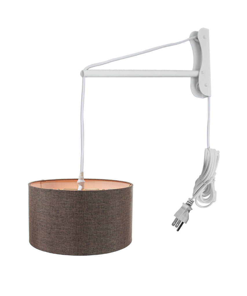 0-001676>MAST Plug-In Wall Mount Pendant, 2 Light White Cord/Arm with Diffuser, Chocolate Burlap Shade 18x18x10