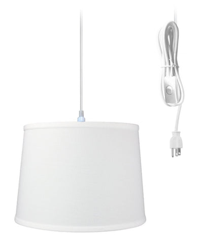 0-000079>1-Light Plug In Swag Pendant Ceiling Light White Shade