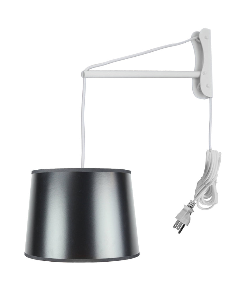 0-002696>MAST Plug-In Wall Mount Pendant, 1 Light White Cord/Arm, Black/Gold Shade 12x14x10