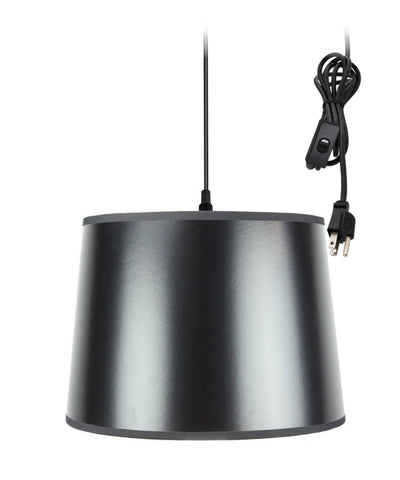 0-002000>1-Light Plug In Swag Pendant Ceiling Light Black/Gold Shade