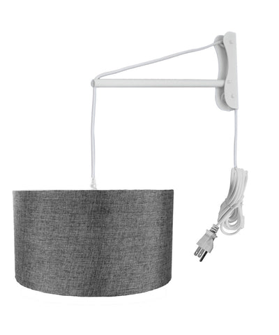 MAST Plug-In Wall Mount Pendant, 1 Light White Cord/Arm, Granite Gray Shade 18x18x10