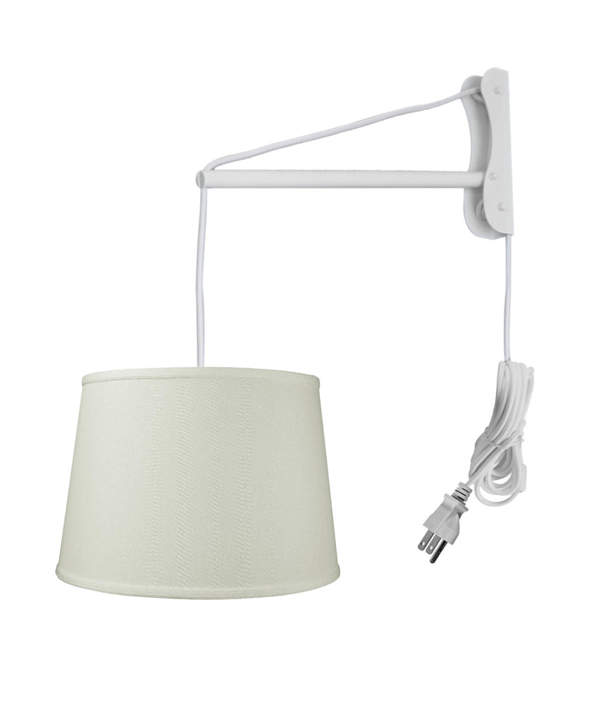 MAST Plug-In Wall Mount Pendant, 2 Light White Cord/Arm with Diffuser, Light Oatmeal Linen Shade 13x16x11