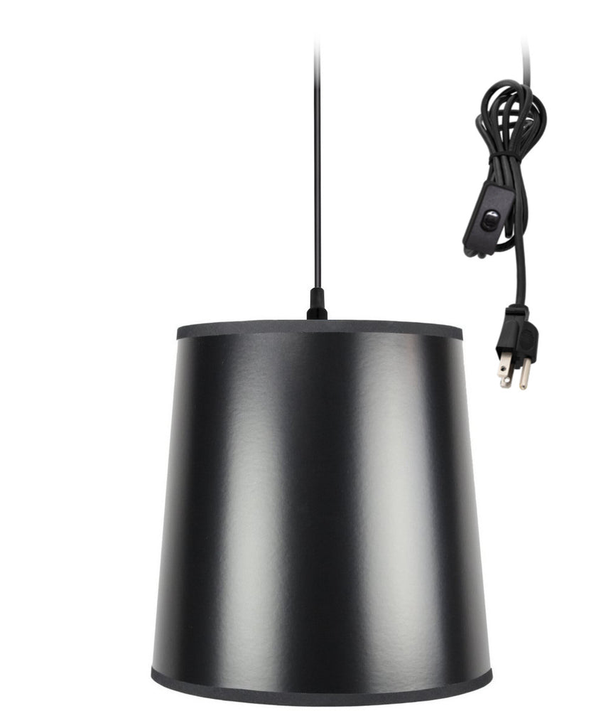 0-002000>1-Light Plug In Swag Pendant Lamp Black/Gold Shade