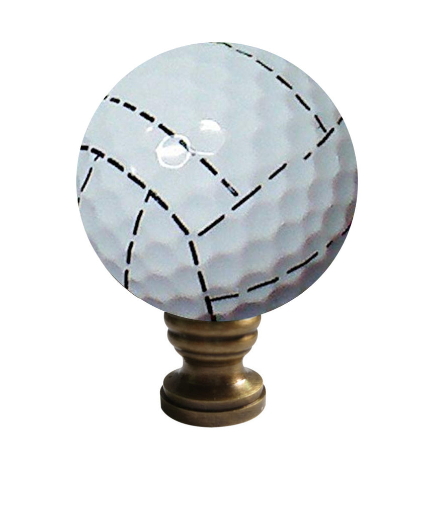 "Volleyball Lamp Finial, White with Black Stripes, 2.25""h"