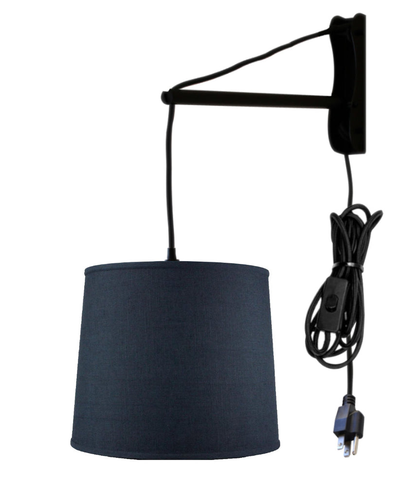 MAST Plug-In Wall Mount Pendant, 1 Light Black Cord/Arm, Textured Slate Blue Shade 12x14x10