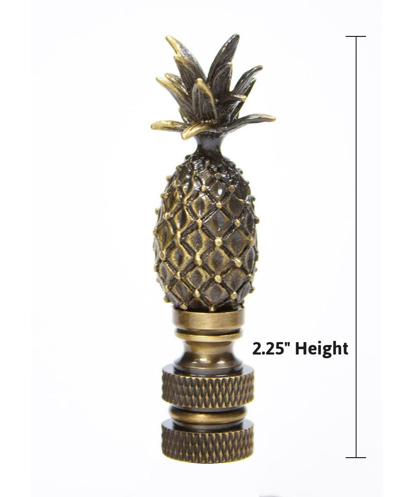 "0-001189>Tall Pineapple Lamp Finial Antique Brass Metal 2.5""h"