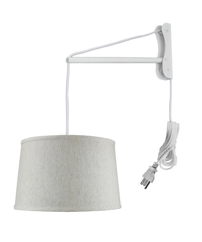 MAST Plug-In Wall Mount Pendant, 2 Light White Cord/Arm with Diffuser, Textured Oatmeal Shade 14x16x10