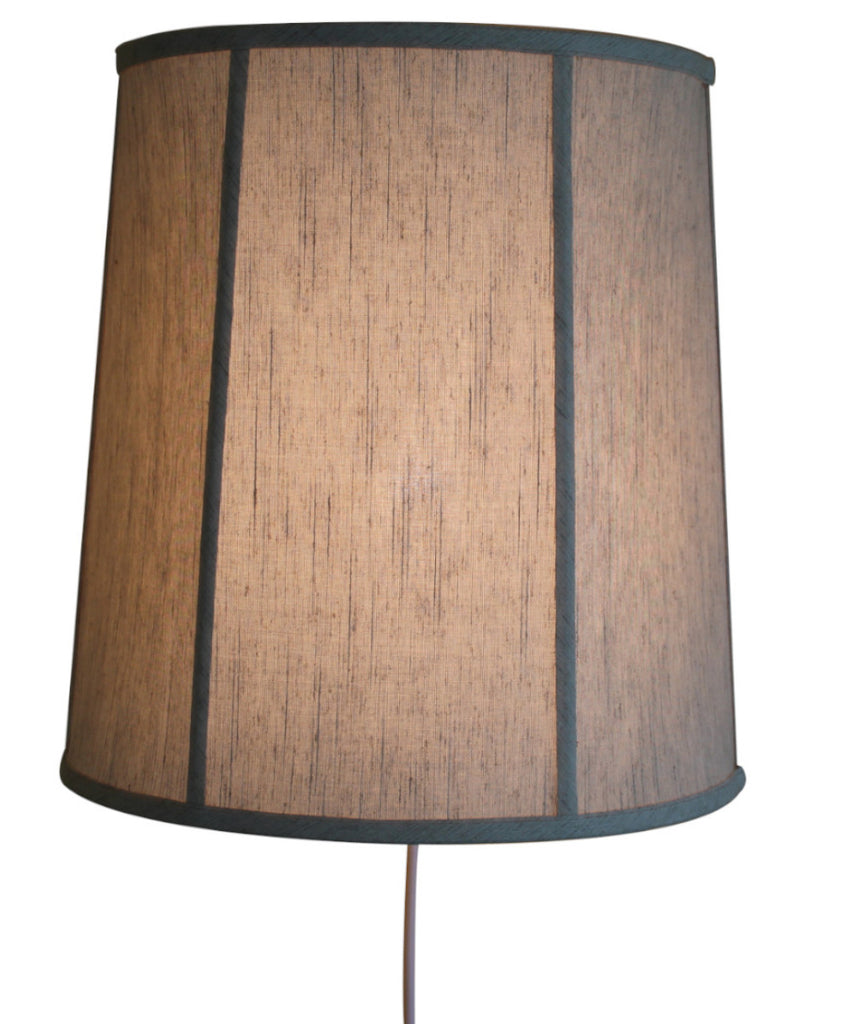 Floating Shade Plug-In Wall Light Textured Oatmeal Fabric 14x16x17