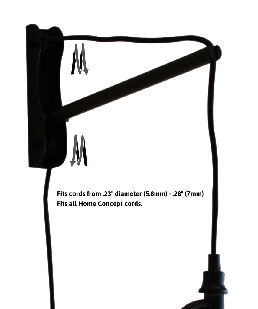 MAST Plug-In Wall Mount Pendant, 1 Light Black Cord/Arm, Shallow Drum Black Shade 10x12x8