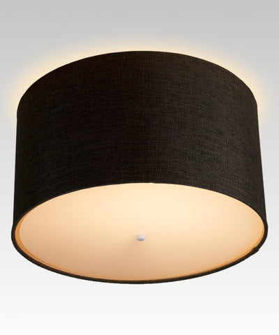 "0-002112>14"" Moderne Flush Mount Converter Kit Chocolate Burlap Hardback Drum Lampshade 14""x14""x7"""