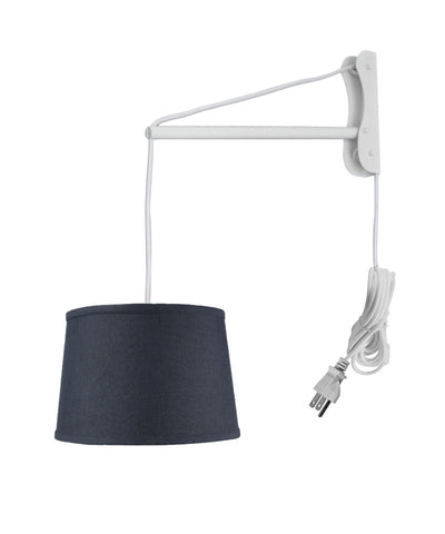 MAST Plug-In Wall Mount Pendant, 1 Light White Cord/Arm, Textured Slate Shallow Drum Shade 10x12x08