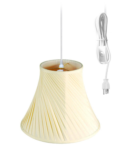 0-002242>1-Light Plug In Swag Pendant Ceiling Light Eggshell Shade